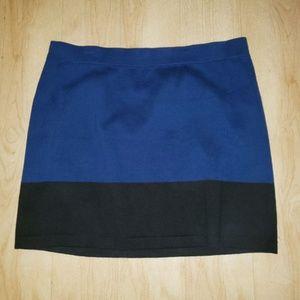 Blue Black Colorblock Knit Skirt Elastic Waist